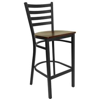 HERCULES Series Black Ladder Back Metal Restaurant Bar Stool [XU-DG697BLAD-BAR-MAHW-GG]