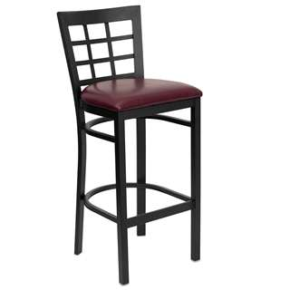 HERCULES Series Black Window Back Metal Restaurant Bar Stool [XU-DG6R7BWIN-BAR-BURV-GG]