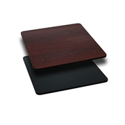 24'' Square Table Top with Black or Mahogany Reversible Laminate Top [XU-MBT-2424-GG]
