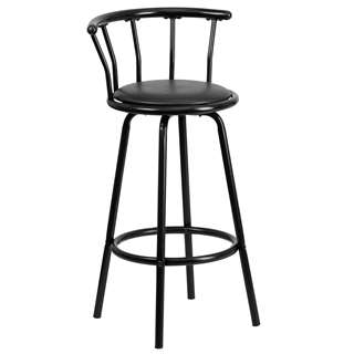Crown Back Black Metal Bar Stool with Black Vinyl Swivel Seat [YB-Y-J909-KD-GG]