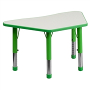 Height Adjustable Trapezoid Green Plastic Activity Table with Grey Top [YU-YCY-091-TRAP-TBL-GREEN-GG]