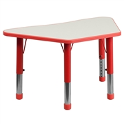 Height Adjustable Trapezoid Red Plastic Activity Table with Grey Top [YU-YCY-091-TRAP-TBL-RED-GG]