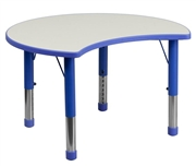 Height Adjustable Cutout Circle Blue Plastic Activity Table with Grey Top [YU-YCY-093-CIR-TBL-BLUE-GG]