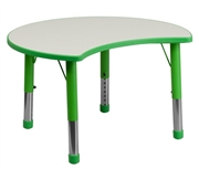 Height Adjustable Cutout Circle Green Plastic Activity Table with Grey Top [YU-YCY-093-CIR-TBL-GREEN-GG]