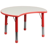 Height Adjustable Cutout Circle Red Plastic Activity Table with Grey Top [YU-YCY-093-CIR-TBL-RED-GG]