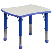Height Adjustable Rectangular Blue Plastic Activity Table with Grey Top [YU-YCY-098-RECT-TBL-BLUE-GG]