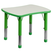 Height Adjustable Rectangular Green Plastic Activity Table with Grey Top [YU-YCY-098-RECT-TBL-GREEN-GG]