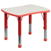 Height Adjustable Rectangular Red Plastic Activity Table with Grey Top [YU-YCY-098-RECT-TBL-RED-GG]