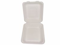 "Bagasse Hinged Lid Container,  Deep Medium 7.875 X 8 X 3.19""-Pla Lined - 160/Cs (2 X 80)"