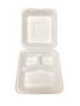 "Bagasse Hinged Lid Container,  Deep Medium 3-Section 7.875 X 8 X 3.19"" - 200/Cs (2 X 100)"