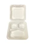 "Bagasse Hinged Lid Container -  Medium 3-section 7.875 x 8 x 2.5"" - 200/Cs (2 X 100)"