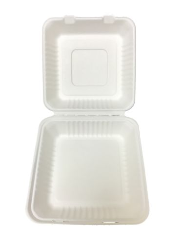 "Bagasse Hinged Lid Container -  Large 9 x 9 x 3.19"" - 200/Cs (2 X 100)"