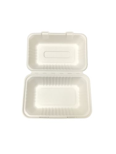 "Bagasse Hinged Lid Container -  Hoagie 9 x 6"" - 250/Cs (2 X 125)"