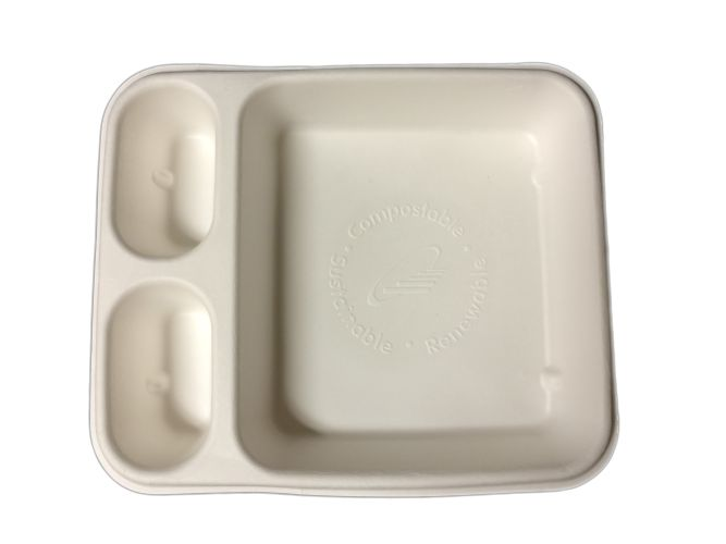Compostable 3 Compartment 7X9 Nacho Tray  - 250/Cs (2 X 125)