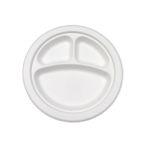 "Compostable9"" 3-Sect. Round Plate - 500/Cs (4 X 125)"