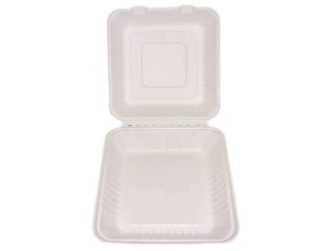 "Bagasse Hinged Lid Container,  Large 9 X 9 X 3.19""-Pla Lined - 160/Cs (2 X 80)"