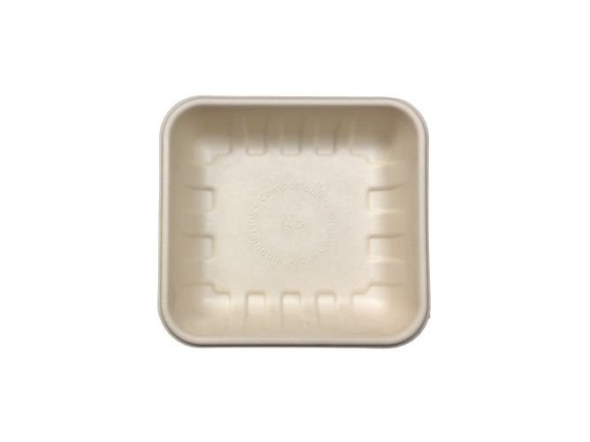 "Compostable Fiber Tray 6.1 X 5.7 X 1.5"" - 500/Cs (4 X 125)"