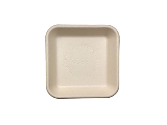 "Compostable Fiber Tray 6 X 6 X 0.875"" - 500/Cs (4 X 125)"