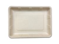 "Compostable Fiber Tray 9.4 X 6.9 X 1.2"" - 250/Cs (2 X 125)"