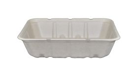"Compostable Shallow Tan Container 7 X 9 X 2.25"" - 200/Cs (4 X 50)"