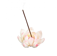 Ceramic Backflow Incense Burner Holder: White Lotus