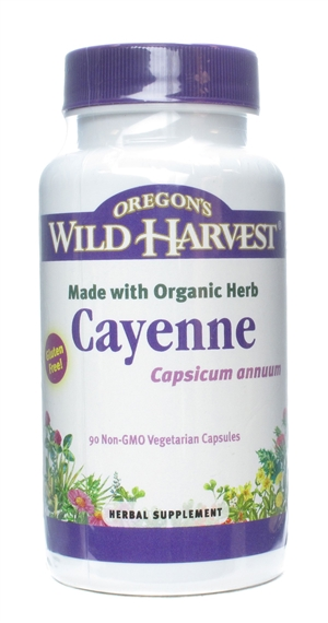 Cayenne: Bottle / Organic, Non-GMO Vegetarian Capsules: 90 Capsules