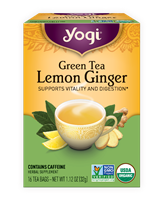 Organic Lemon Ginger Green Tea: Boxed Tea / Individual Tea Bags: 16 Bags