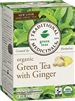 Organic Green Tea with Ginger: Boxed Tea / Individual Tea Bags: 16 Bags