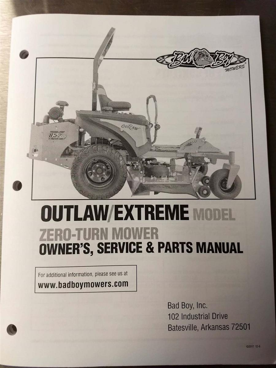 bad boy mower part 2017 outlaw outlaw extreme owner s manual rh badboylawnmowerparts com bad boy manual prg