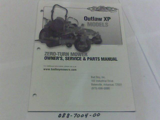 Bad Boy Mower Part 2012 Outlaw XP Owner's Manual