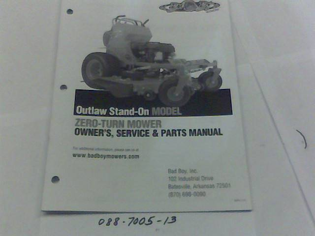 Bad Boy Mower Part 2013 Outlaw Stand On Owner's Manual