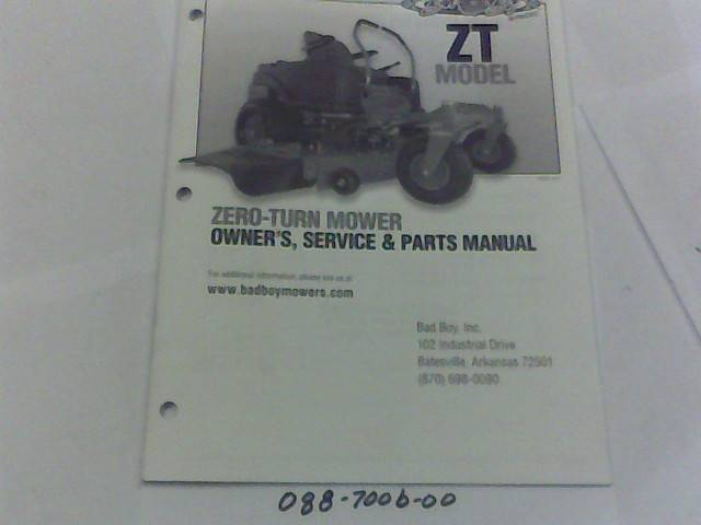 Bad Boy Mower Part 2012 ZT Owner's Manual