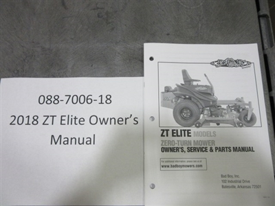 Bad Boy Mower Part - 088-7006-18 - 2018 ZT Elite Owner's Manual