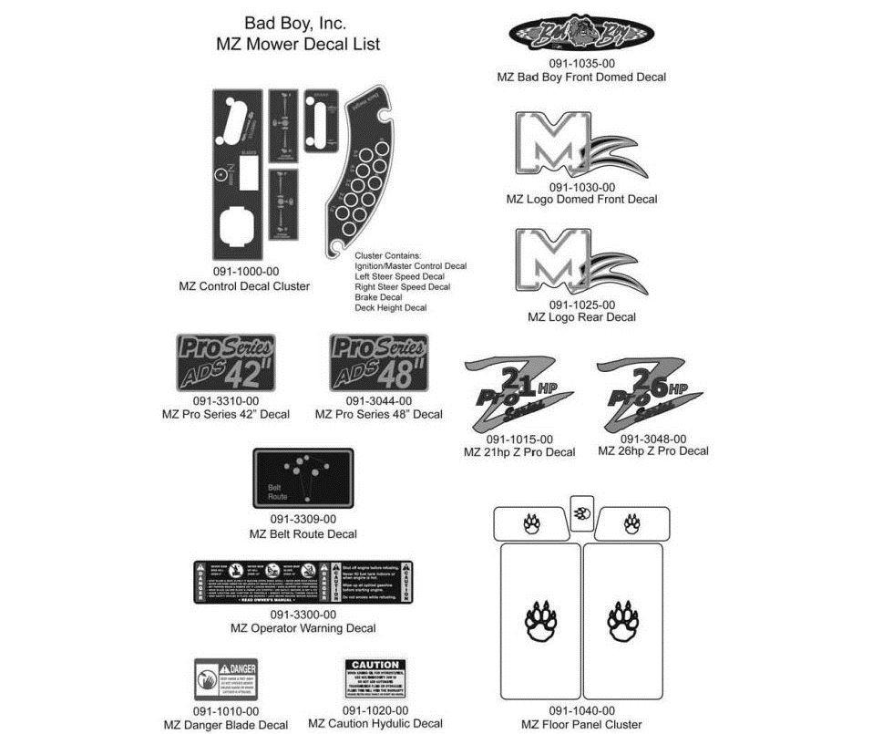 Bad Boy Mower Part, 2011 MZ DECALS
