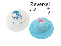 Sun Hat with Strap Reversible 2 in 1 and UPF 50++ Dolphin/Flamingo