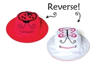Sun Hat with Strap Reversible 2 in 1 and UPF 50++ Ladybug/ Butterfly