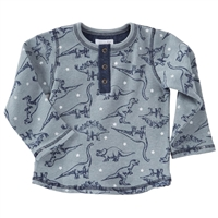 Dinosaur Print Henley With Denim Jeans at Little-Minnows.com