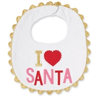 Baby Girls I Love Santa Bib at Little-Minnows.com