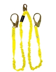 Fall Protection Double Lanyard with Rebar Hooks and integrated shock absorber