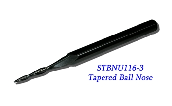 "STBNU116-3  -  1/16"" Tapered Ballnose 1/4 Shank"