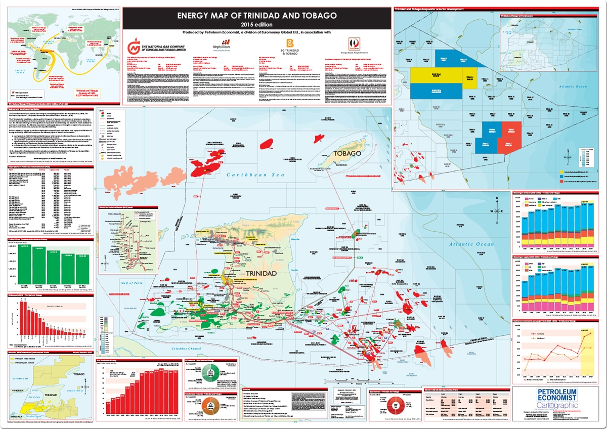 Energy Map Of Trinidad And Tobago Petroleum Economist Store - Trinidad and tobago map