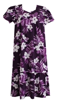 Wave Shoppe Mid-Calf Purple Hawaiian Muumuu Dress