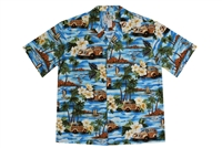 KYs Mens Blue Aloha Shirt with Woodie Cars