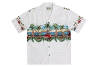 KYs Mens White Woody Car Hawaiian Shirts