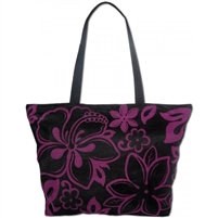 Purple Hibiscus Beach Bag