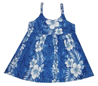 KYs Childrens Waikiki Blue Hawaiian Dress