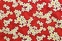 Red Plumeria Cotton Hawaiian Fabric