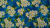 Turquoise Plumeria Cotton Hawaiian Fabric