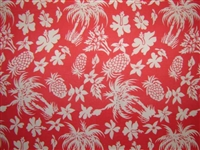 Red Coral PolyCotton Hawaiian Fabric