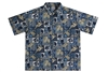 Wave Shoppe Blue Men's Hawaiian Shirt with Sea Turtles